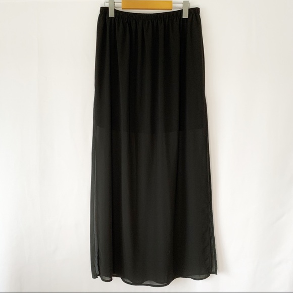 Sheer Maxi Skirt w/ under Slit